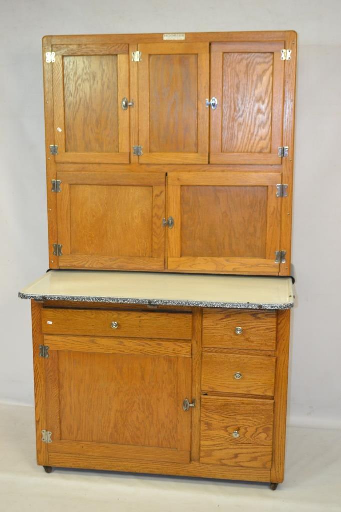 Oak hoosier cabinet w white enamel top for White enamel kitchen cabinets