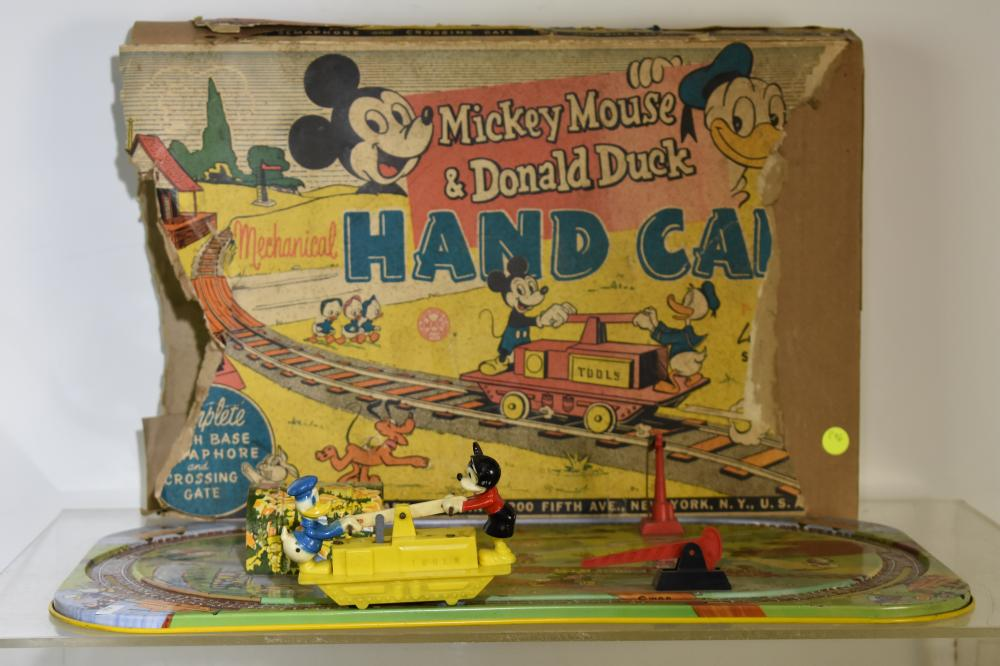 Marx Mickey Mouse Hand Car with Box