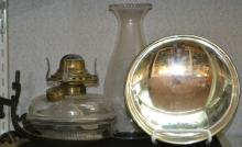 Victorian Oil Lamp with Mercury Glass Reflector