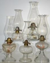 Five Victorian Oil Lamps