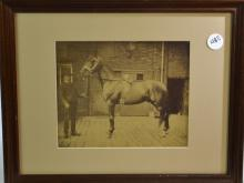Early Photographic Print of a Man & Horse