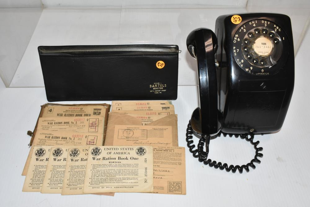 Vintage Telephone and War Ration Books