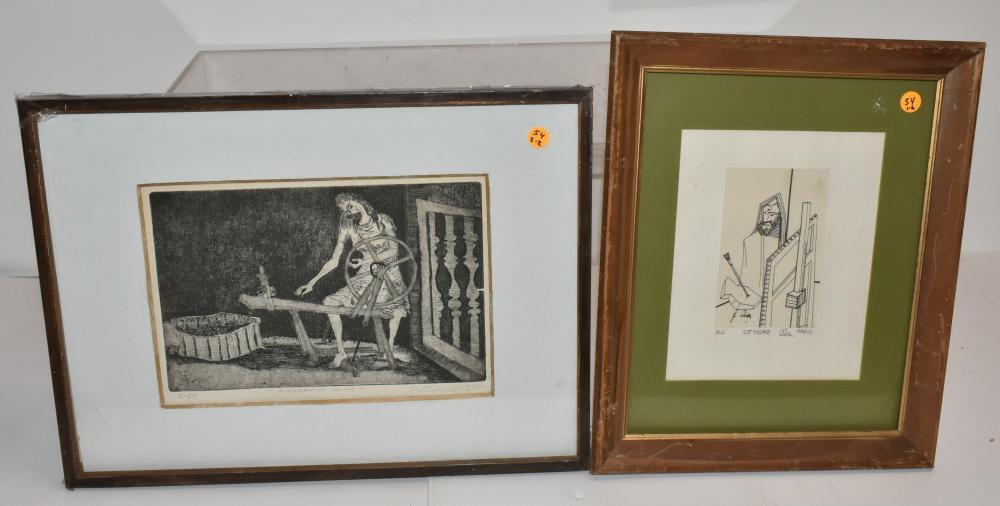 (2) Mid Century Signed Prints