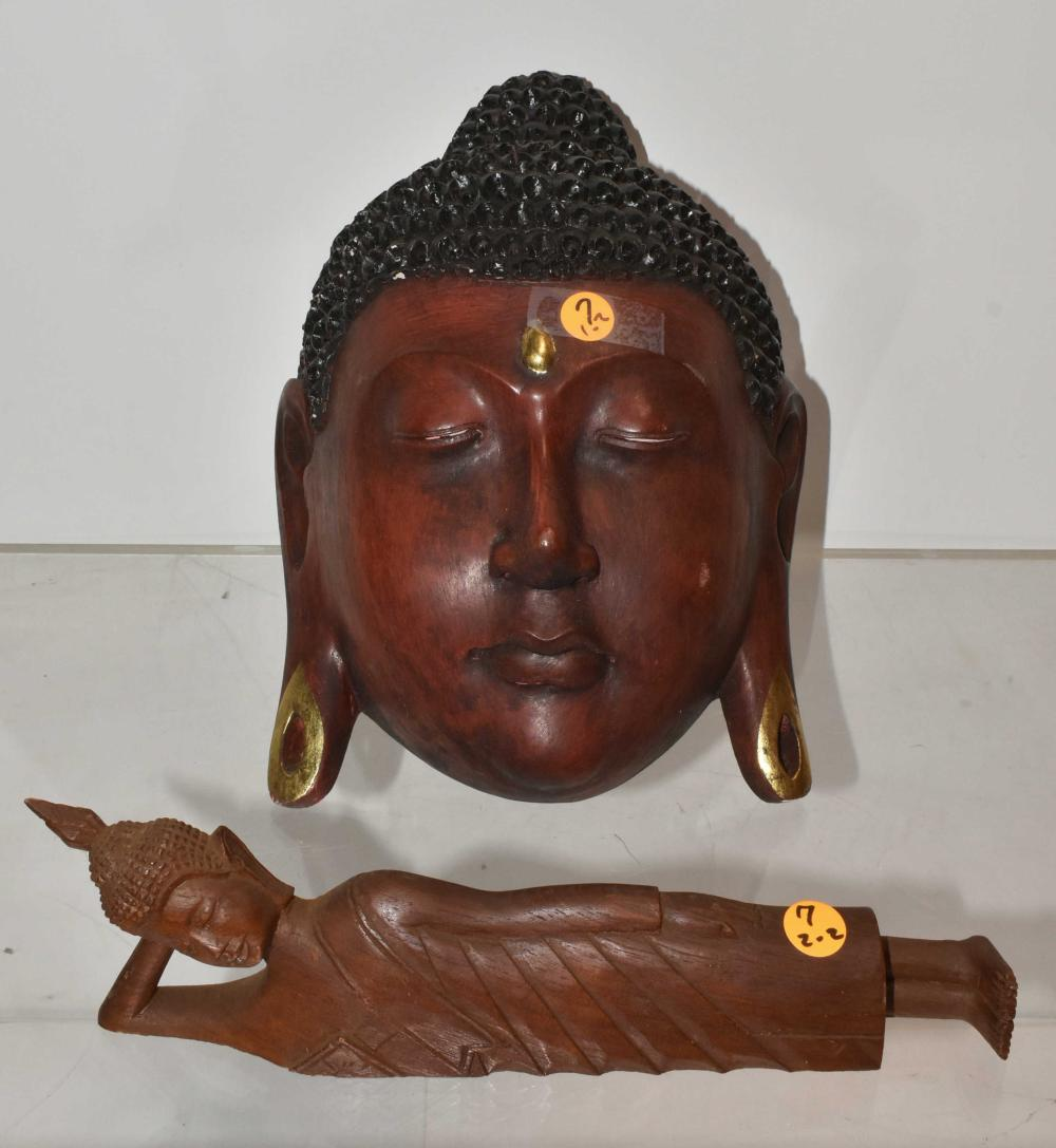 (2) Carved Wooden Buddha