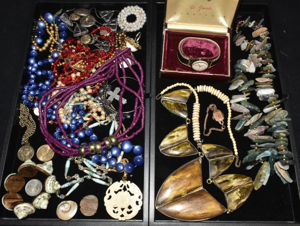 (2) Trays of Watches and Costume Jewelry
