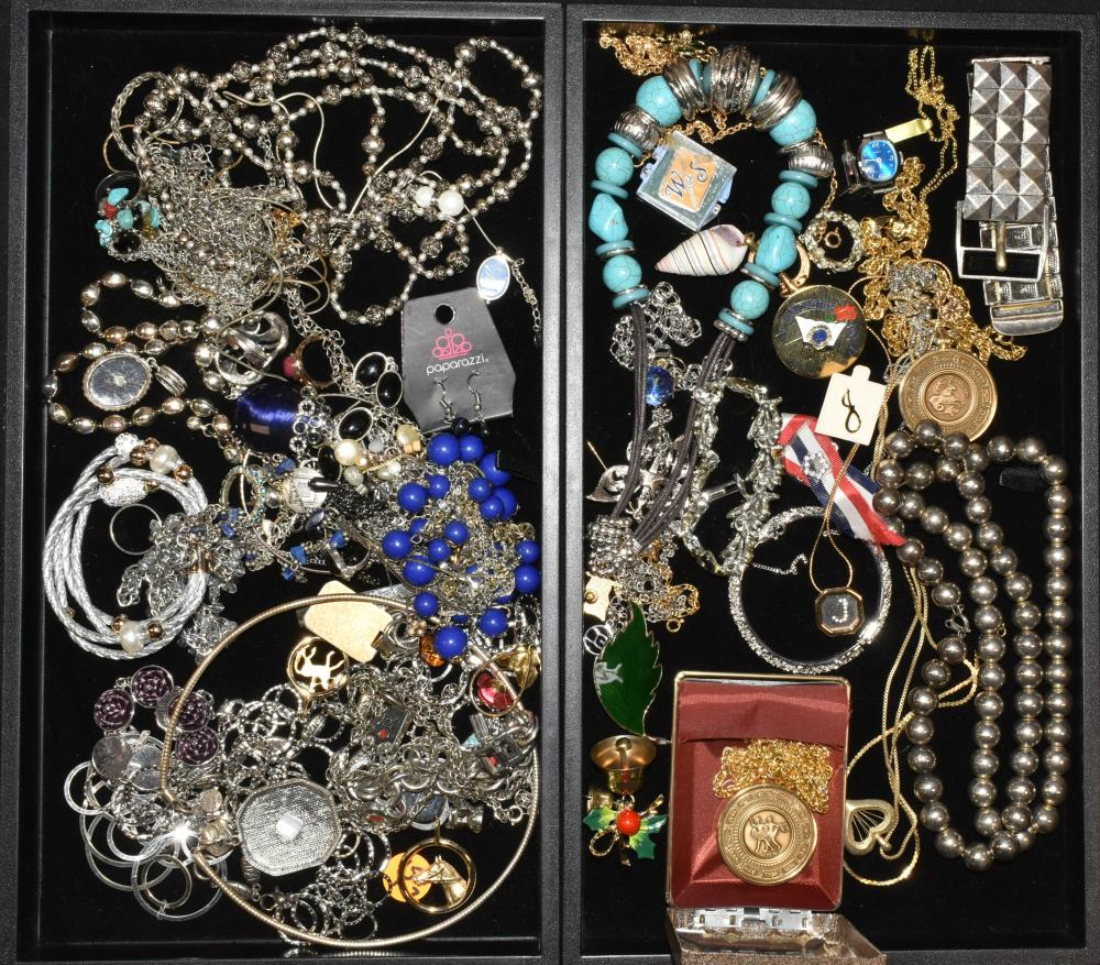 (2) Trays of Silver & Gold Tone Jewelry