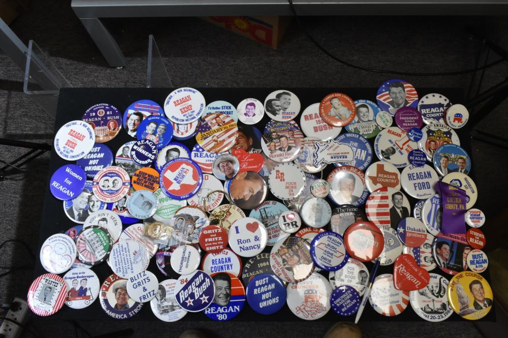 Large Collection of Ronald Reagan Pin Backs