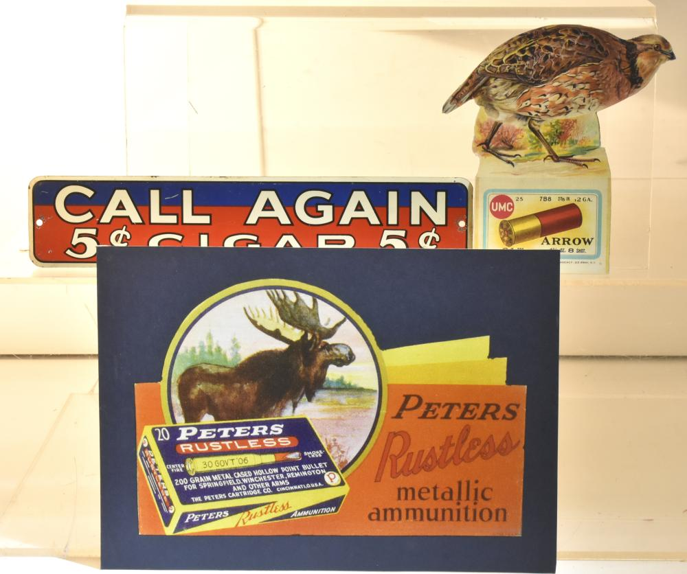Tin 5 Cent Cigar Sign and Other Items