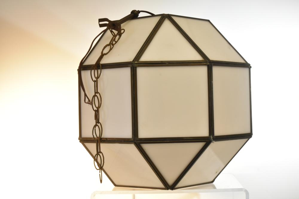 Brass and Lucite Post Modern Style Hanging Lamp