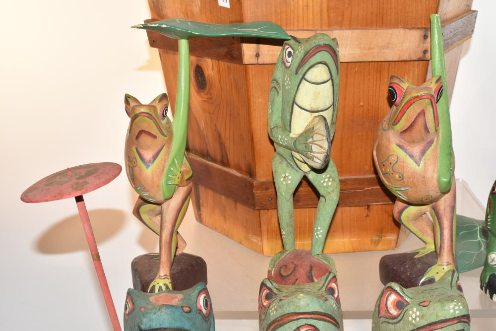 Grouping of Carved Wooden Frogs