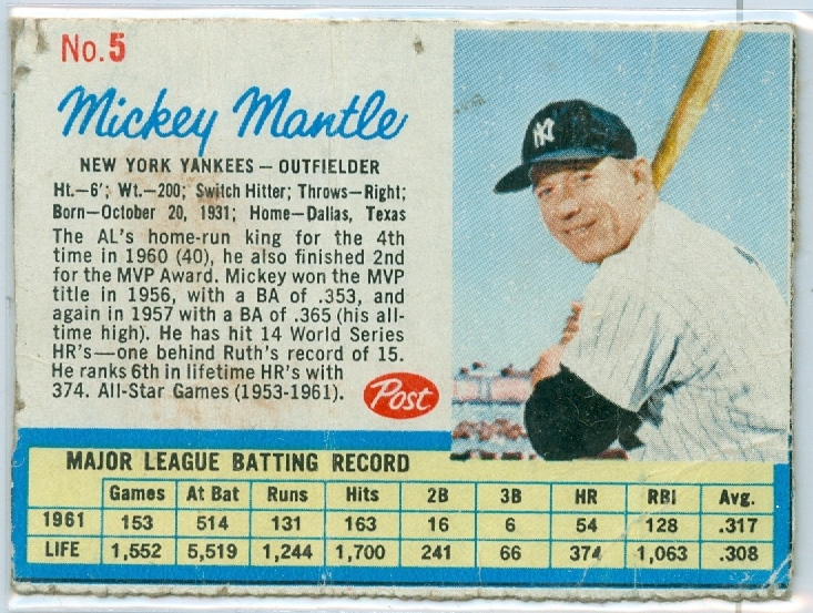 Mickey Mantle Of The New York Yankees Rare Vintage 1962 Post