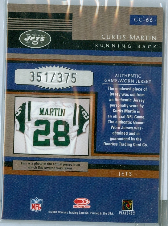 new concept f3a6a ec308 CURTIS MARTIN of the NEW YORK JETS & PRO FOOTBALL HALL of ...