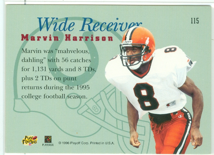 Marvin Harrison Of The Indianapolis Colts 1996 Playoff