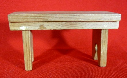 Vintage Wooden Wood Dollhouse Furniture Bench Table Measures 4 X 2 1 8