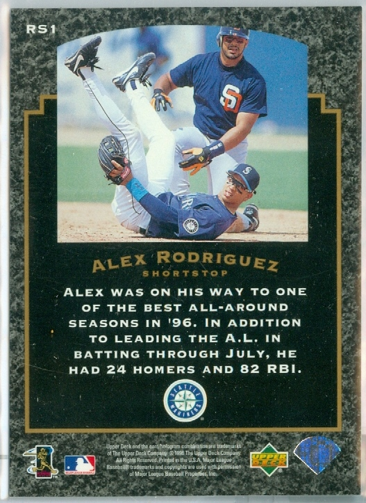 Alex Rodriguez Of The Seattle Mariners 1997 Upper Deck Baseball
