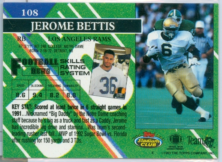 Jerome Bettis Of The Pittsburgh Steelers 1993 Topps