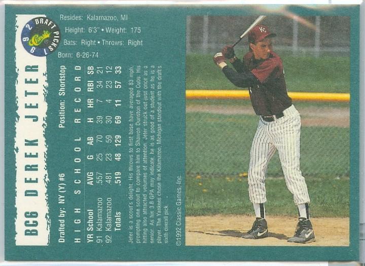 Derek Jeter Of The New York Yankees Rare 1992 Classic