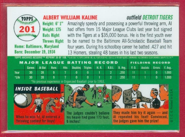 Al Kaline Of The Detroit Tigers Baseball Hall Of Fame
