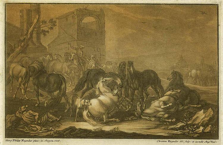 Rugendas, Christian (1708 Augsburg 1781). 12 Bl.