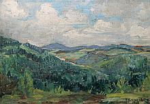 Kronenberg, Fritz (1901 Köln - Hamburg 1960) zugeschrieben. Bergige Landschaft. Öl auf Karton,