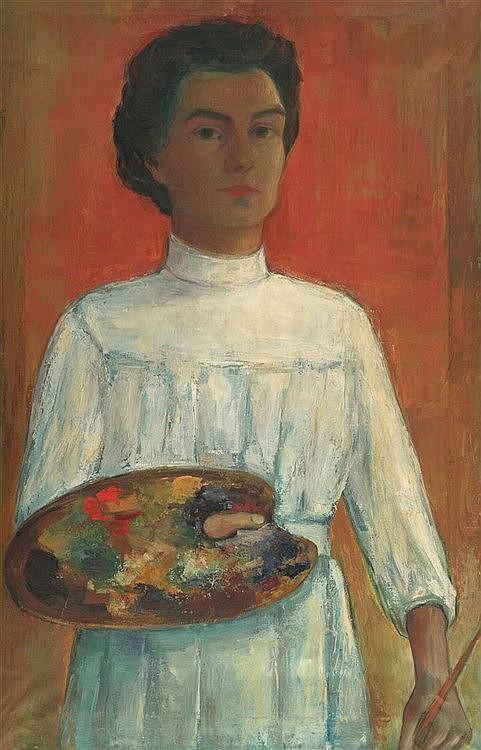 Güntzel, Margot  (1913 Tarnowitz/Oberschlesien). Selbstportrait mit wei
