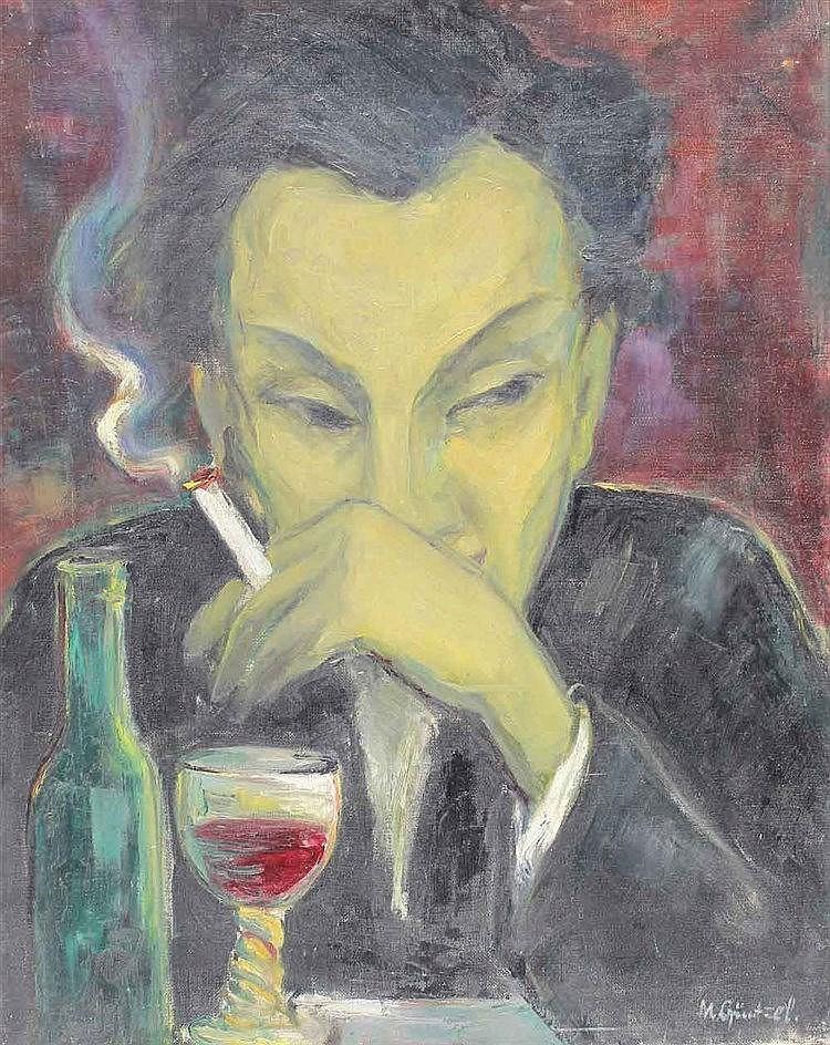 Güntzel, Margot  (1913 Tarnowitz/Oberschlesien). Mann mit Zigarette u.