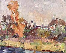 Bock, Ludwig (1886 München 1971). Flusslandschaft mit Blick auf ein ba