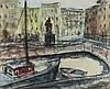 Eck,  Walter (1895 Würzburg   München 1973). Zwei Boote im Hafenbecken., Walter Eck, €0