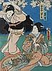 Kunisada,  Utagawa I. (1786 1865). Kabuki Szene: kämpfende Frauen. Typt, Utagawa Kunisada, €0