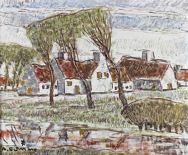 Blomme,  Alfons (1889 Roeselare 1979). Häuserzeile am Flussufer. Öl auf