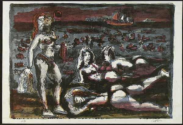 Zancanaro, Tono (1906 Padua 1985). Strandszene.