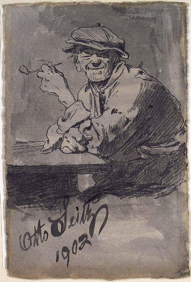 Seitz, Otto (1846 München 1912). Rauchender Bauer.