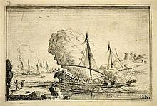 Barrière, Dominique (um 1618 Marseille - Rom 1678). Seeschlacht. Radie