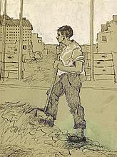 Büger, Adolf (1885 München 1966). Arbeiter vor Baustelle in München. T