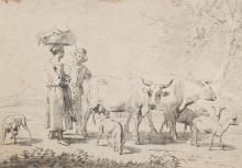 Noorde, Cornelis van - (1731 Haarlem 1795). Hirte u. eine Frau mit Kühen