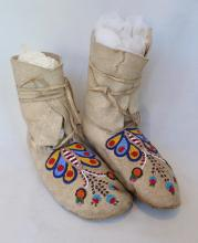 Pair Of Cree Beaded Moccasins