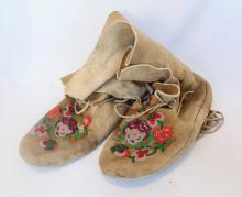 Pair Of Cree Beaded High Moccasins