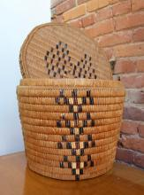 Salish Round Covered Basket, Imbricated And Beaded Designs