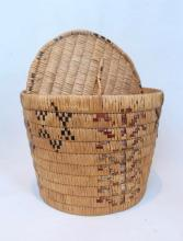 Salish Round Covered Basket, Beaded Designs To Sides