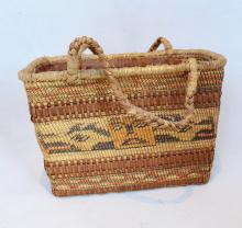 Nuu Chah Nulth Shopping Style Basket, Serpent Design To Sides
