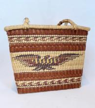 Nuu Chah Nulth Shopping Style Basket, Bear And Bird Design, Condition Noted