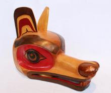 Monogrammed Gs, Untitled, Wolf Mask, Carved And Painted Alder