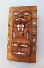 Haida-style Frontlet Carving, Carved, Painted And Stained Cedar