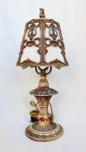 1920's Cast Metal Table Lamp, Floral, Lyre And Swag Motifs With Lined Shade