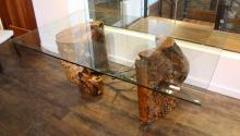 Live Edge Dining Table With Glass Top