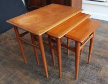 Trio Of BM, Denmark Danish Modern Teak Nesting Tables