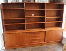 Danish Modern Teak Lateral Shelving System With Drawers And Cabinets Beneath