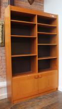Danish Modern Teak Double Wide Cabinet Bookshelf