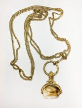 Victorian Gold Tone Watch Chain With A Large Seal Fob