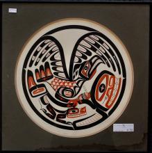 "Patrick Amos, ""Thunderbird And Whale Drum"", Serigraph"